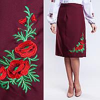 bc62146fac7 Бордовая женская юбка плахта с вышивкой Соломия 65 см