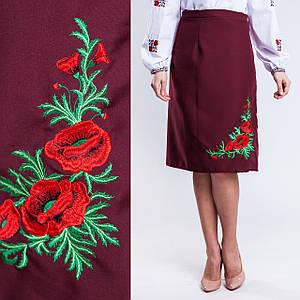 Бордовая женская юбка плахта с вышивкой Соломия 65 см