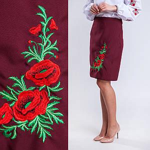 Бордовая женская юбка плахта с вышивкой Соломия 55 см