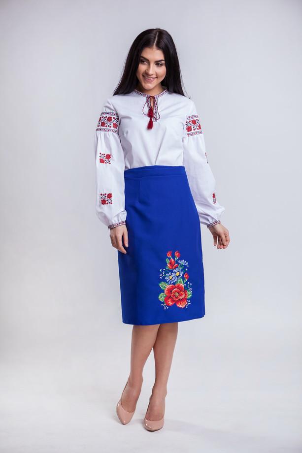 Синяя женская юбка вышиванка Мальва 65 см