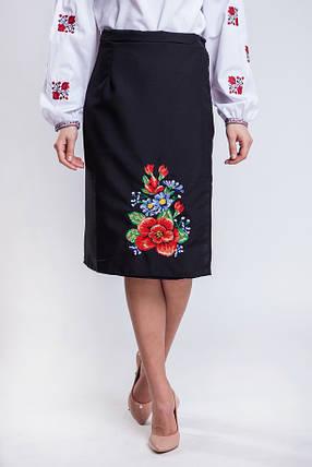 Черная женская юбка в украинском стиле Мальва 65 см, фото 2