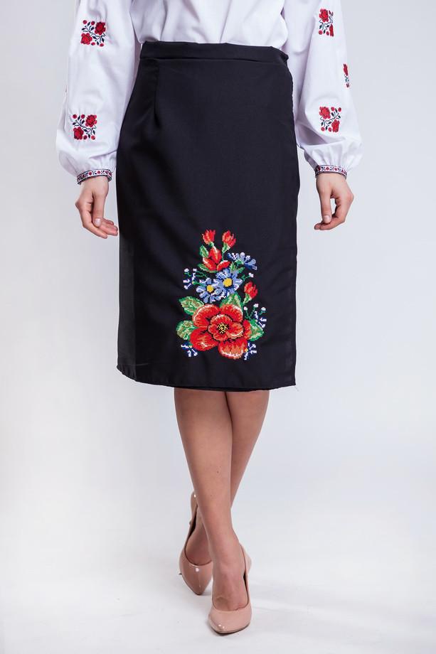 Черная женская юбка в украинском стиле Мальва 65 см