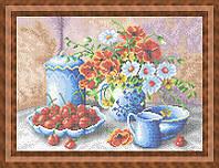 Схема для полной вышивки бисером - Цветы в вазе и вишня, Арт. НБп3-39
