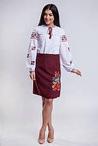 Бордовая женская юбка с запахом Мальва 55 см, фото 2