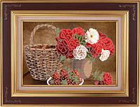 Схема для частичной вышивки бисером - Розы в вазе и клубника, Арт. НБч4-4