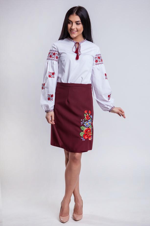 Бордовая женская юбка с запахом Мальва 55 см