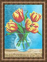 Схема для частичной вышивки бисером - Тюльпаны в вазе, Арт. НБч4-51