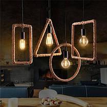 E27 Ретро Винтаж Промышленный Кулон Потолочный светильник Creative Hemp Веревка Люстра Лампа AC110-220V, фото 2