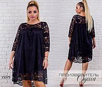 Платье-гипюр свободного кроя R-15375 черный