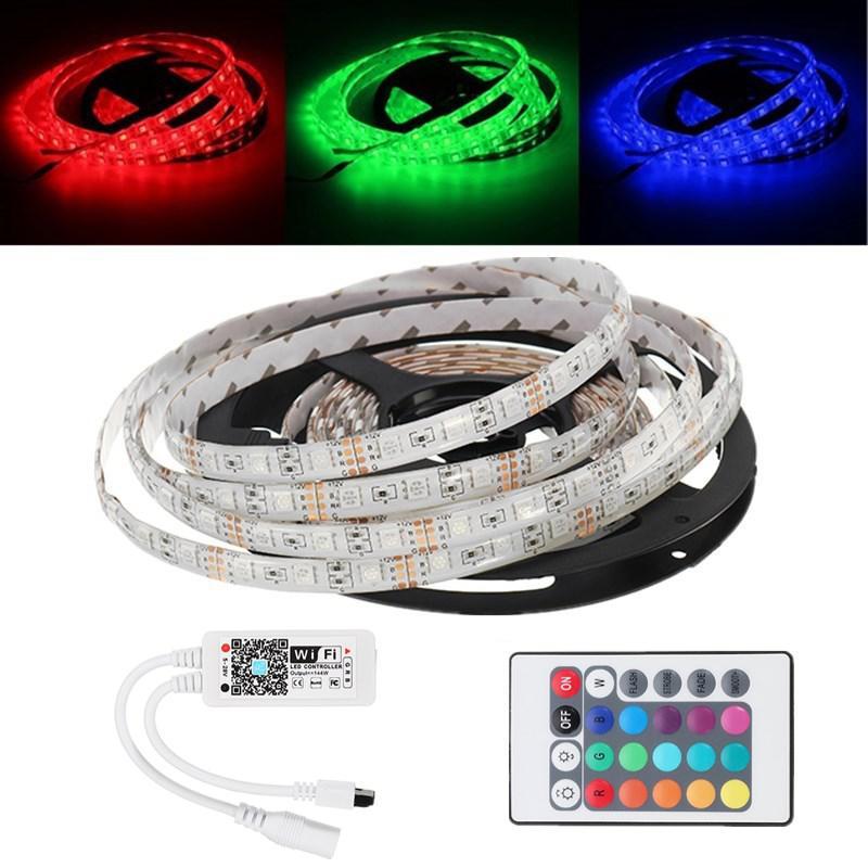 5M 5050 Водонепроницаемы RGB LED Strip Light + WiFi-контроллер работает с Alexa + 24Keys Дистанционное Управление DC12V -1TopShop