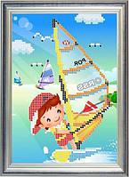 Набор для частичной вышивки бисером - Детская вышивка - дети и серфинг, Арт. ДБч5-14
