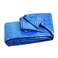 Тент синий, полиэтиленовый, плотностью 65г/м², с проушинами и двусторонней ламинацией, 6*10м AB-0610 Intertool