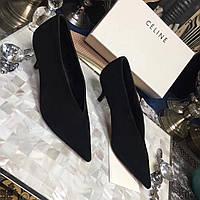 Замшевые туфли с длинным носком Celine Черный, 40