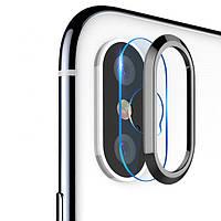 Bakeey Черный Назад камера Объектив Металлический страж с прозрачным закаленным стеклом Объектив Film For iPhone X