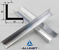 "Уголок алюминиевый 20х20х2 мм АД31Т5 AS анодированный ""матовое серебро"""