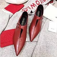Кожаные туфли на застежке с острым носком Celine