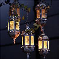 Ретро стекло железа Марокканский подвесной художественный фонарь Чай Кулон Свет держатель Главная Сад Декор