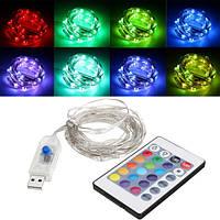 USB Powered 5.3M 50LEDs RGB 8 режимов Silver Провод Fairy String Light + Remote Control для Рождества - 1TopShop