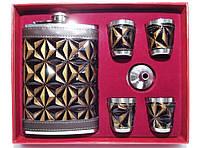 NF4-25 Набор: фляга + 4 стопки + лейка, Фляга и рюмки  в коробке, Фляжка 240 мл