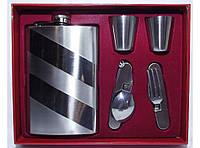 NF196 Набор фляга + ложка + вилка + 2 стопки, Подарочный набор с флягой для мужчины,