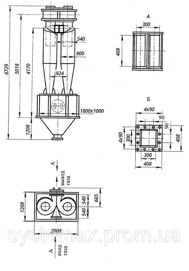 Габаритные и установочные размеры циклона ЦН-15-900х2УП