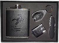 NFDF-02 Подарочный набор с флягой, Набор: фляга + зажигалка + брелок + складной нож/штопор, Фляга 240 мл