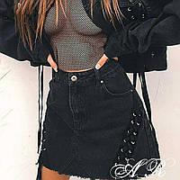 Юбка джинсовая женская со шнуровкой
