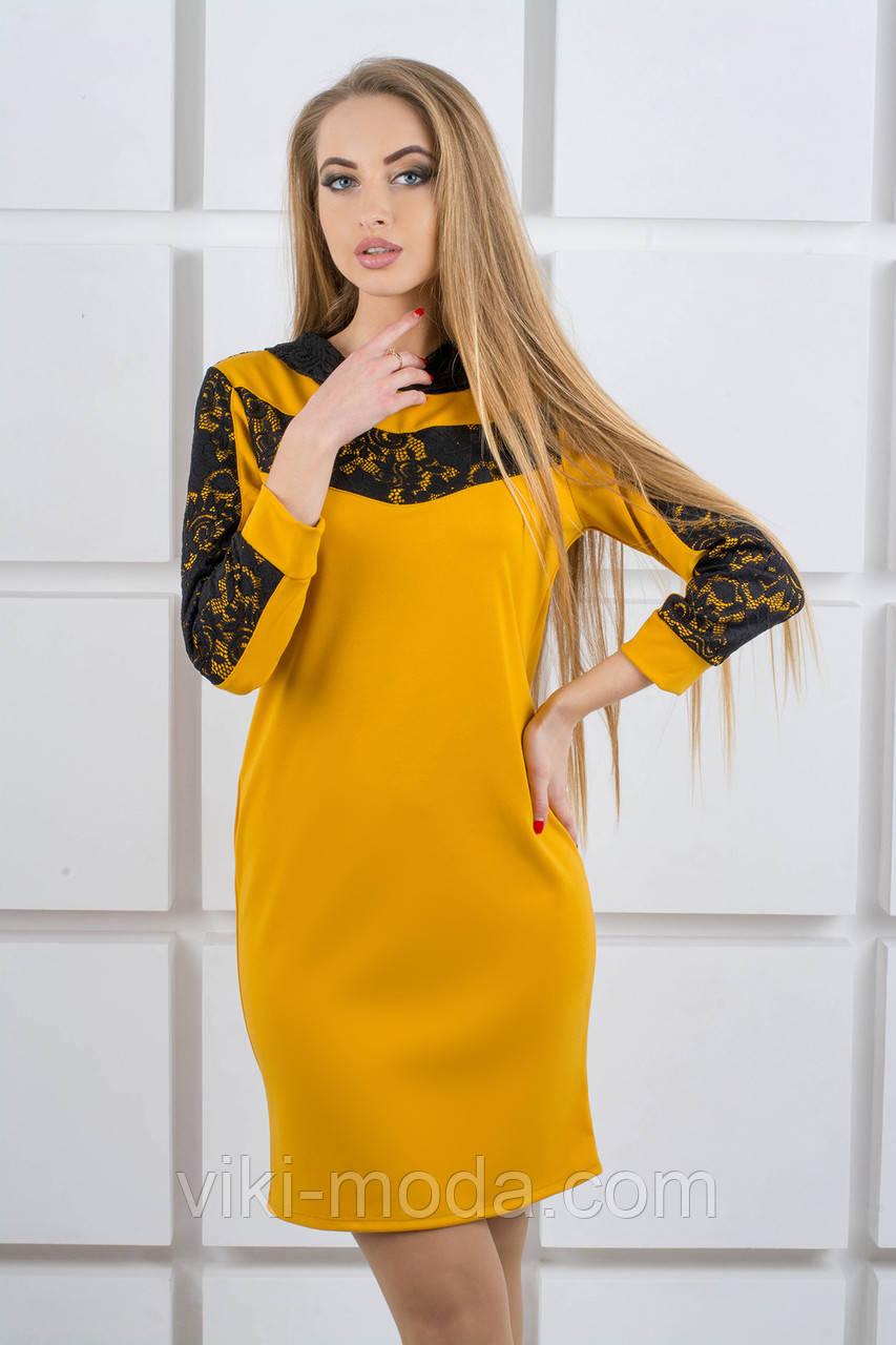 Молодежное платье Камита (горчичный)