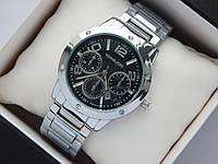 Женские наручные часы копия Michael Kors серебро, стразы, черный циферблат, фото 1