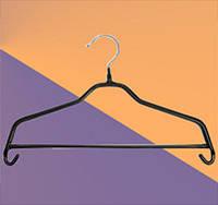Плечики для одежды металлические, чёрные с перекладиной (40 см)