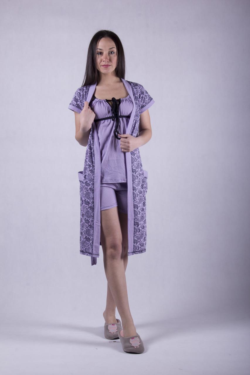 """Комплект пижама с халатом """"Пейсли - лиловый"""" р.42. 46"""