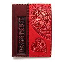 """Кожаная обложка для паспорта ручной работы """"Сердце"""""""