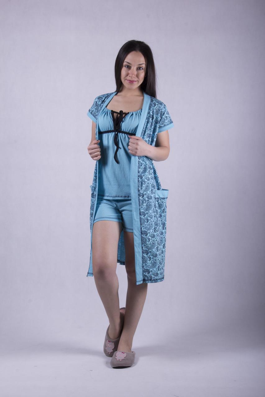 """Комплект пижама с халатом """"Пейсли - бирюза"""" р.42,46"""