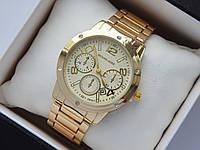 Женские наручные часы копия Michael Kors золото, стразы, дополнительные циферблаты, фото 1