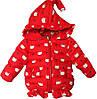 """Куртка детская демисезонная """"Кошечки"""" #3 для девочек. 3-4-5-6 лет. Красная. Оптом."""