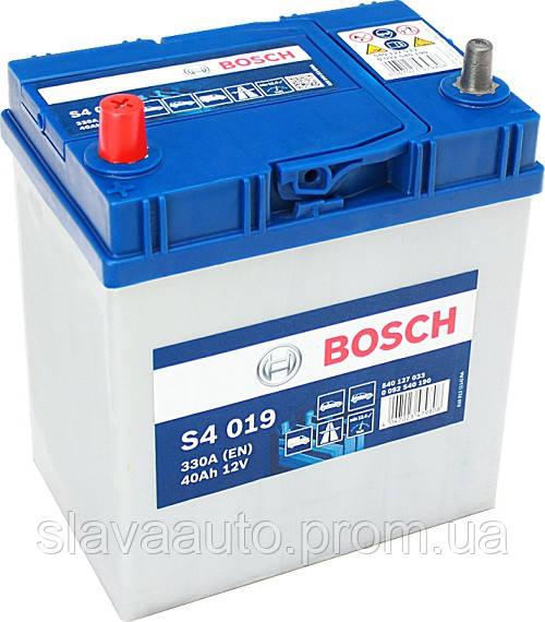 АКБ 40Ah-12v BOSCH (S4019) (187x127x200),L,EN330(Азия)тонк.клемы