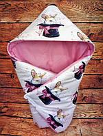 """Зимнее одеяло / конверт для выписки """"Кролик в шляпе"""" 75*75 см ТМ ШкодаМода"""