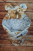 """Зимний конверт с ушками на выписку """"Мишка плюшевый"""" (одеяло для новорожденного 75*75 см) ТМ ШкодаМода"""