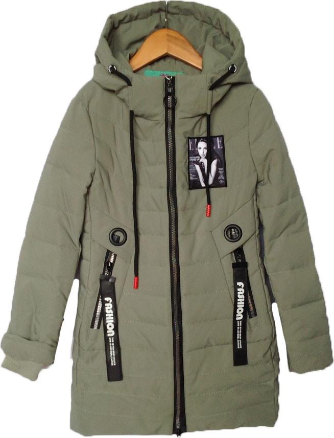 """Куртка подростковая демисезонная """"Elle"""" #ВМ-815 для девочек. 8-9-10-11-12 лет. Темно-оливковая. Оптом., фото 1"""