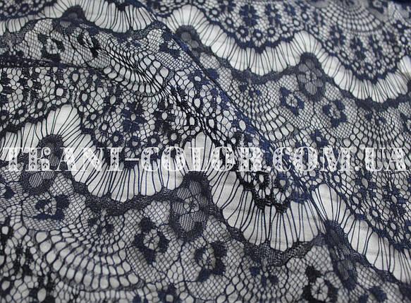 Ткань гипюр реснички темно-синий, фото 2