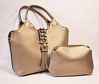 Сумка в сумке кожаная бронза Velina Fabbiano 9018