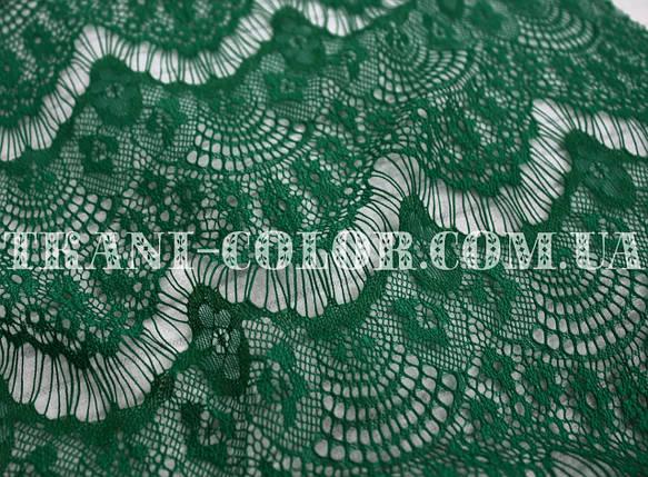Ткань гипюр реснички темно-зеленый бутылка, фото 2