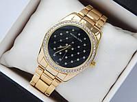 Женские кварцевые часы копия Michael Kors b133-1, золотого цвета, сетка из страз, фото 1