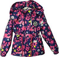 """Куртка детская демисезонная """"Spring"""" #6-4 для девочек. 5-6-7-8 лет. Синяя с малиновым узором. Оптом., фото 1"""