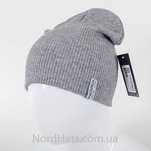 Трикотажная удлиненная двойная шапка (Серый)