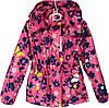 """Куртка детская демисезонная """"Spring"""" #6-4 для девочек. 5-6-7-8 лет. Розовая с синим узором. Оптом."""