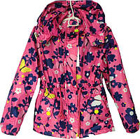 """Куртка детская демисезонная """"Spring"""" #6-4 для девочек. 5-6-7-8 лет. Розовая с синим узором. Оптом., фото 1"""