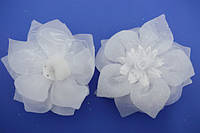 Бант на резинке, белый, блестки, роза, диаметр 11 см,  (2 шт)