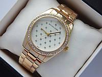 Женские кварцевые часы Michael Kors b133-1, золото, белый циферблат, сетка из страз