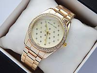 Женские кварцевые часы Michael Kors b133-1, золотистый циферблат, сетка из страз, фото 1